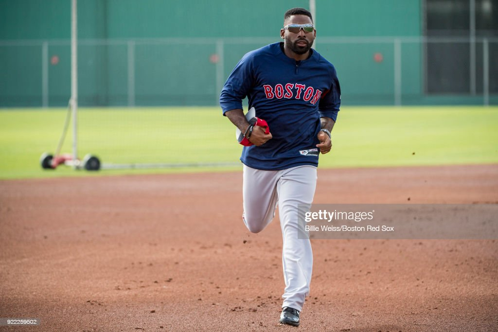 Jackie Bradley Jr. #19 of the Boston Red Sox runs the bases during a team workout on February 21, 2018 at jetBlue Park at Fenway South in Fort Myers, Florida .