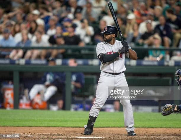 Jackie Bradley Jr #19 of the Boston Red Sox waits for a pitch during an atbat in a game against the Seattle Mariners at Safeco Field on July 25 2017...