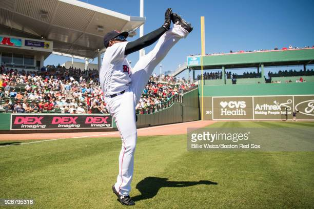 Jackie Bradley Jr #19 of the Boston Red Sox warms up during a game against the New York Yankees on March 3 2018 at Fenway South in Fort Myers Florida