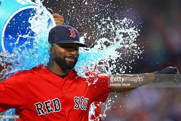 Jackie Bradley Jr #25 of the Boston Red Sox is doused in Powerade after Boston Red Sox defeat the New York Yankees 74 at Fenway Park on September 16...