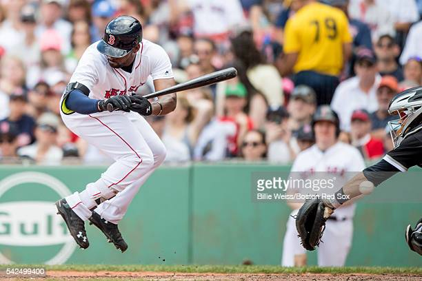 Jackie Bradley Jr #25 of the Boston Red Sox is hit with a pitch during the sixth inning of a game against the Chicago White Sox on June 23 2016 at...