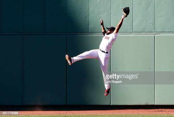 Jackie Bradley Jr #25 of the Boston Red Sox makes a catch on a ball hit Manny Machado of the Baltimore Orioles in the ninth at Fenway Park on July 6...