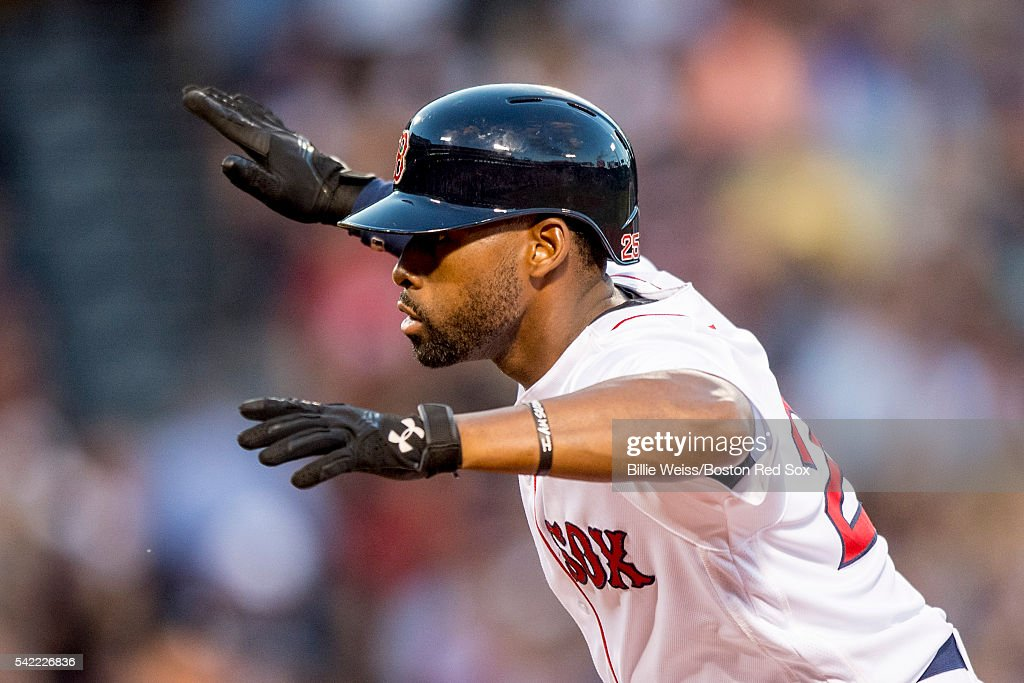 Jackie Bradley Jr. #25 of the Boston Red Sox reacts after hitting an RBI single during the third inning of a game against the Chicago White Sox on June 22, 2016 at Fenway Park in Boston, Massachusetts.