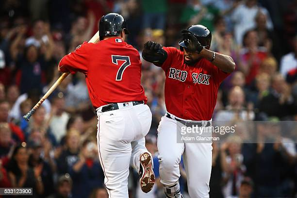 Jackie Bradley Jr #25 of the Boston Red Sox returns to the dugout after hitting a home run in the second inning during the game against the Cleveland...