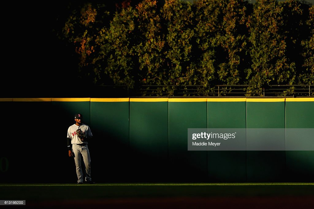 Jackie Bradley Jr. #25 of the Boston Red Sox stands in the outfield in the fourth inning against the Cleveland Indians during game two of the American League Divison Series at Progressive Field on October 7, 2016 in Cleveland, Ohio.