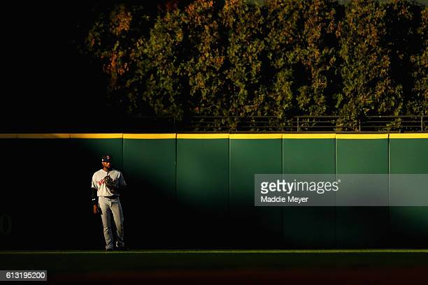 Jackie Bradley Jr #25 of the Boston Red Sox stands in the outfield in the fourth inning against the Cleveland Indians during game two of the American...