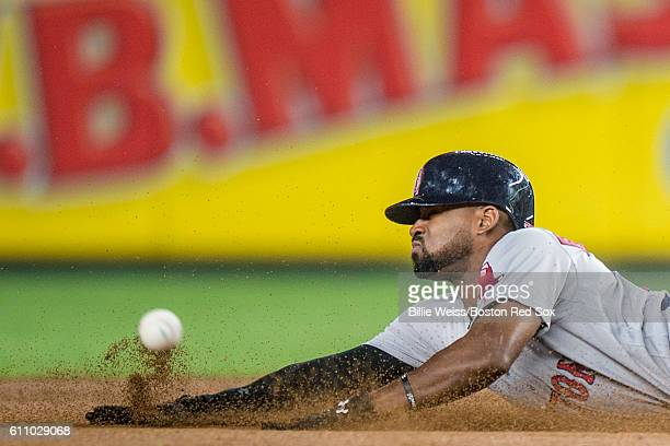 Jackie Bradley Jr #25 of the Boston Red Sox steals second base during the fifth inning of a game against the New York Yankees on September 28 2016 at...