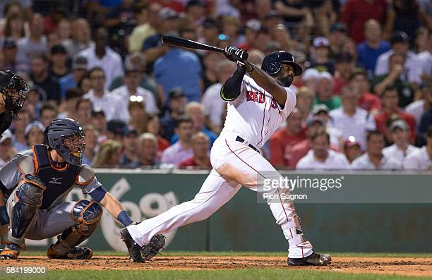 Jackie Bradley Jr #25 of the Boston Red Sox swings at a pitch during the fourth inning against the Detroit Tigers at Fenway Park on July 25 2016 in...