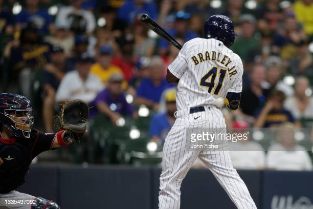 Jackie Bradley Jr. #41 of the Milwaukee Brewers is hit by a pitch in the eighth inning against the Washington Nationals at American Family Field on...