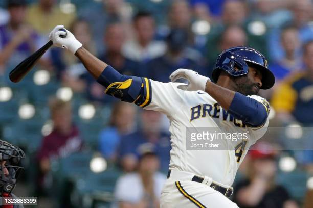 Jackie Bradley Jr. #41 of the Milwaukee Brewers swings at a pitch against the Cincinnati Reds at American Family Field on June 15, 2021 in Milwaukee,...