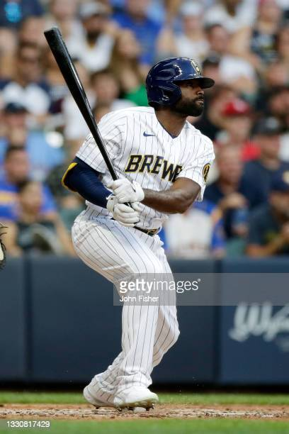 Jackie Bradley Jr. #41 of the Milwaukee Brewers swings at a pitch against the Chicago White Sox at American Family Field on July 25, 2021 in...
