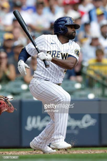 Jackie Bradley Jr. #41 of the Milwaukee Brewers swings at a pitch against the St. Louis Cardinals at American Family Field on September 05, 2021 in...