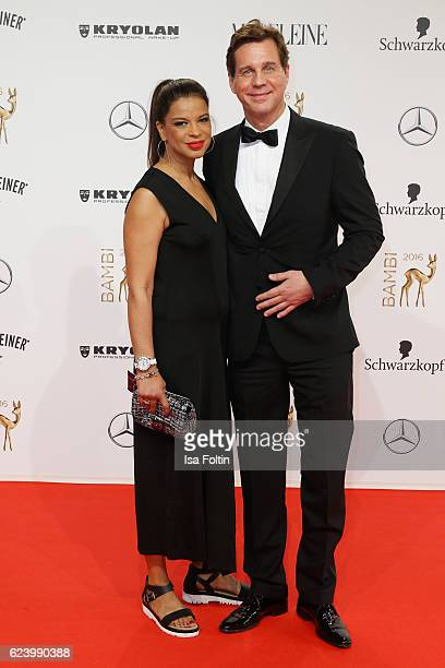 Jackie Brown and Thomas Heinze arrive at the Bambi Awards 2016 at Stage Theater on November 17 2016 in Berlin Germany