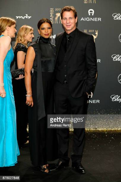 Jackie Brown and Thomas Heinze arrive at the Bambi Awards 2017 at Stage Theater on November 16 2017 in Berlin Germany