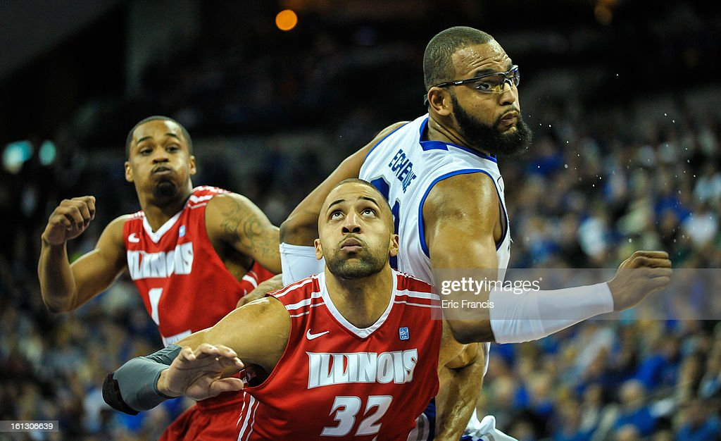 Jackie Carmichael #32 of the Illinois State Redbirds and Gregory Echenique #00 of the Creighton Bluejays fight for position during their game at the CenturyLink Center on February 9, 2013 in Omaha, Nebraska.