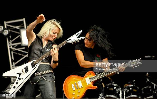 Jackie Chambers and Kim McAuliffe of Girlschool perform on stage on the last day of Bloodstock Open Air festival at Catton Hall on August 16 2009 in...