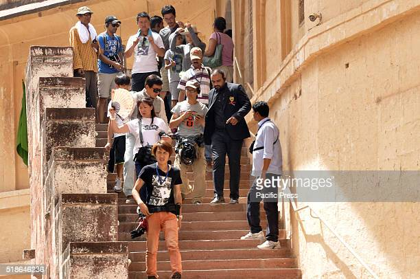 """Jackie Chan a martial artist, actor, film director, producer, stuntman arrives for shoot of his upcoming movie """"Kung Fu Yoga"""" at Mehrangarh fort in..."""