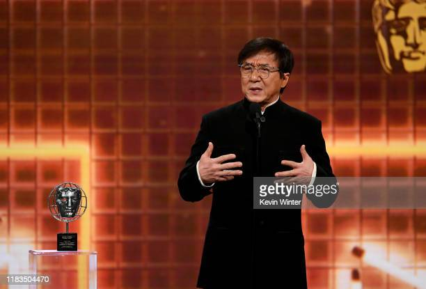 Jackie Chan accepts the Albert R Broccoli Britannia Award for Worldwide Contribution to Entertainment onstage during the 2019 British Academy...