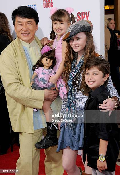 Jackie Chan Alina Foley Madeline Carroll and Will Shadley arrive at 'The Spy Next Door' World Premiere at The Grove on January 9 2010 in Los Angeles...