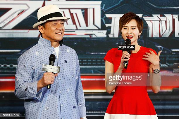 Jackie Chan and Erica Xiahou speaks on stage during a press conference and photocall for Bleeding Steel at Sydney Opera House on July 28 2016 in...