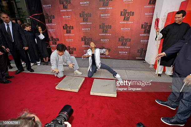 Jackie Chan and Jaden Smith attend the Norwegian premiere of 'The Karate Kid' on July 23 2010 in Fredrikstad Norway