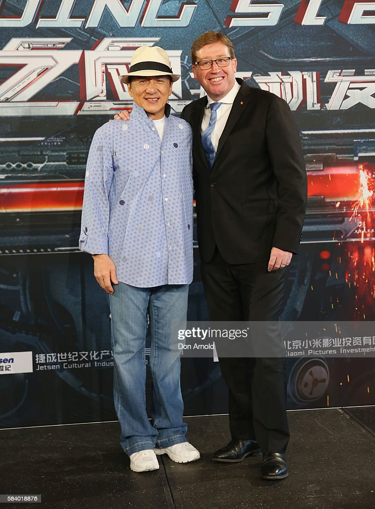 Jackie Chan and Troy Grant pose during a press conference and photocall for Bleeding Steel at Sydney Opera House on July 28, 2016 in Sydney, Australia.