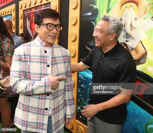 Jackie Chan and Warner Bros CEO Kevin Tsujihara attend the premiere of Warner Bros Pictures' The LEGO Ninjago Movie at Regency Village Theatre on...