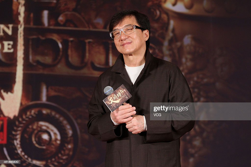 Jackie Chan attends director Daniel Lee's film 'Dragon Blade' press conference on January 21, 2015 in Beijing, China.