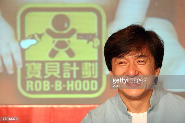 Jackie Chan attends the premiere of the Music Video of his new film 'Project BB' or 'RobBHood' on June 19 2006 in Shanghai China