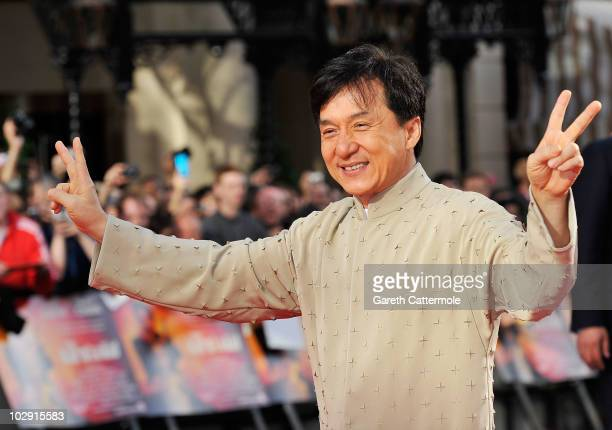 Jackie Chan attends the UK Film Premiere of The Karate Kid at Odeon Leicester Square on July 15 2010 in London England