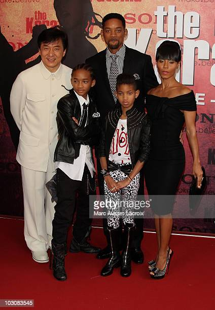 Jackie Chan, Jaden Smith, Will Smith, Willow Smith and Jada Pinkett Smith attend the 'The Karate Kid' Paris Premiere - Photocall at Le Grand Rex on...