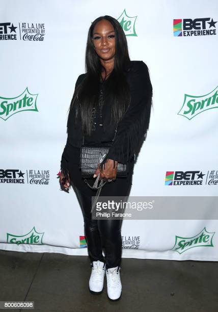 Jackie Christie poses backstage at the Celebrity Basketball Game presented by Sprite and State Farm during the 2017 BET Experience at Staples Center...