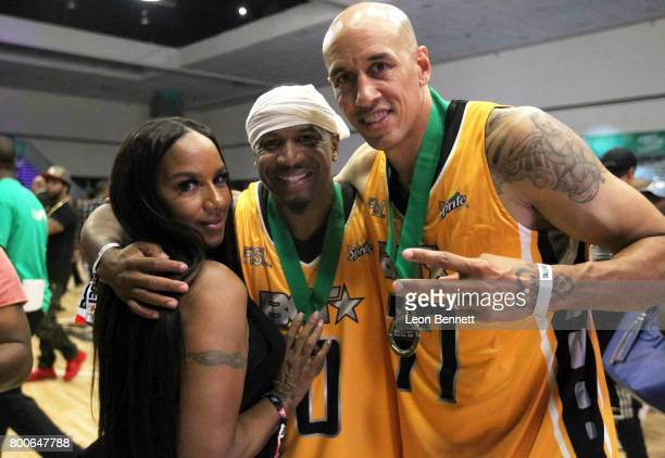 Jackie Christie Stevie J and Doug Christie at the Celebrity Basketball Game presented by Sprite and State Farm during the 2017 BET Experience at Los...
