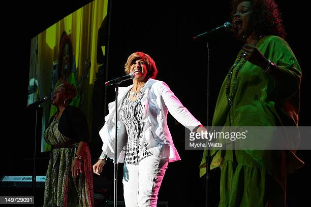Jackie Clark Dorinda Clark and Karen Clark Sheard of The Clark Sisters perform at The Dell Music Center on August 2 2012 in Philadelphia Pennsylvania