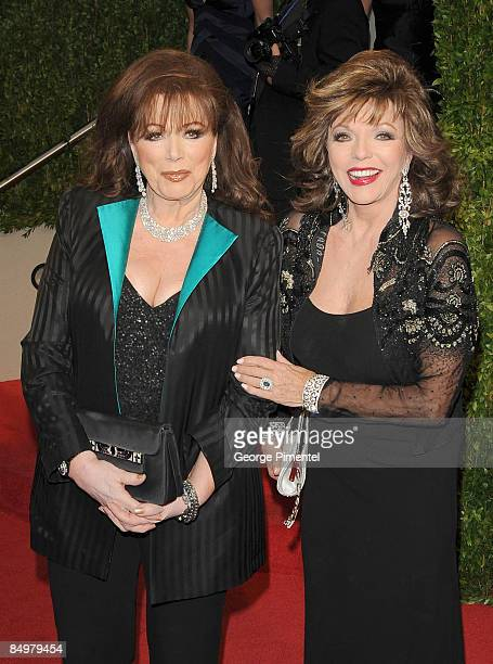 Jackie Collins and actress Joan Collins arrive at the 2009 Vanity Fair Oscar Party Hosted By Graydon Carter at the Sunset Tower on February 22 2009...