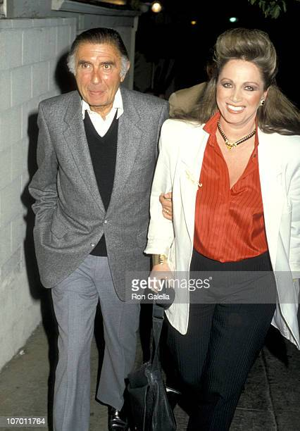 Jackie Collins and Husband Oscar Lerman during Jackie Collins at Spago in Hollywood January 23 1986 at Spago in Hollywood California United States