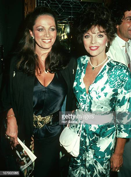 Jackie Collins and Joan Collins during Jackie Collins' Hollywood Wives Book Party July 26 1983 at Ryan's Place in Los Angeles California United States