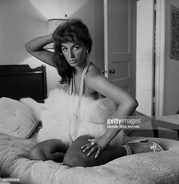 Jackie Collins poses at home in Los Angeles California