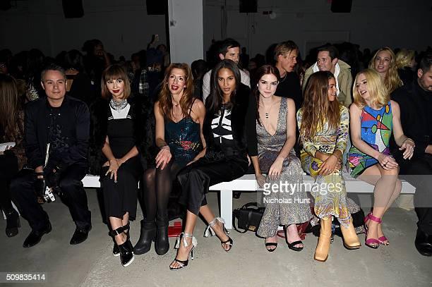 Jackie Cruz Alysia Reiner Cindy Bruna Emily Tyra Mimi Elashiry and ZZ Ward attend the Nicole Miller Fall 2016 fashion show during New York Fashion...
