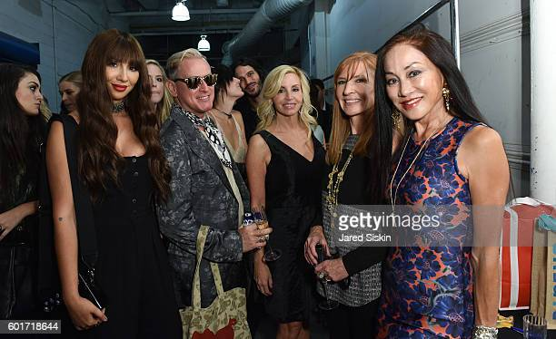 Jackie Cruz Montgomery Frazier Camille Grammer Nicole Miller and Lucia Hwong Gordon backstage at the Nicole Miller Spring 2017 Fashion Show at...
