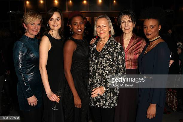Jackie Cune, Clare Dunne, Jade Anouka, Phyllida Lloyd, Harriet Walter, Leah Harvey attend the press night of The Donmar's Shakespeare Trilogy at the...