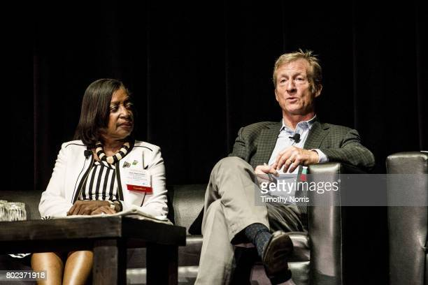Jackie DupontWalker and Tom Steyer speak during Climate Day LA at The Theatre at Ace Hotel on June 27 2017 in Los Angeles California