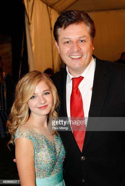 Jackie Evancho and Anthony Kearns pose for a photo backstage at the 25th National Memorial Day Concert rehearsals at US Capitol West Lawn on May 24...