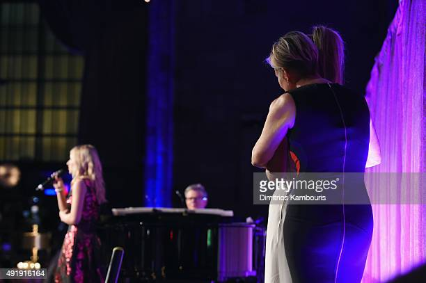 Jackie Evancho David Foster perform onstage with Gigi Hadid and Yolanda Foster during the Global Lyme Alliance Uniting for a LymeFree World Inaugural...
