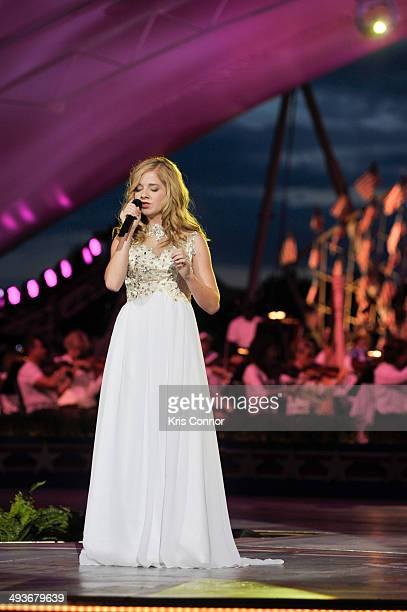 Jackie Evancho performs during the rehearsal of the 25th Anniversary Broadcast Of The National Memorial Day Concert at US Capital West Lawn on May 24...