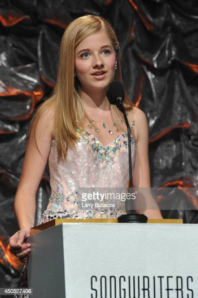Jackie Evancho speaks onstage at Songwriters Hall of Fame 45th Annual Induction And Awards at Marriott Marquis Theater on June 12 2014 in New York...