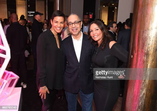 Jackie Gagne George Wolfe and Lucinda Martinez attend HBO's The HeLa Project Exhibit For The Immortal Life of Henrietta Lacks on April 6 2017 in New...