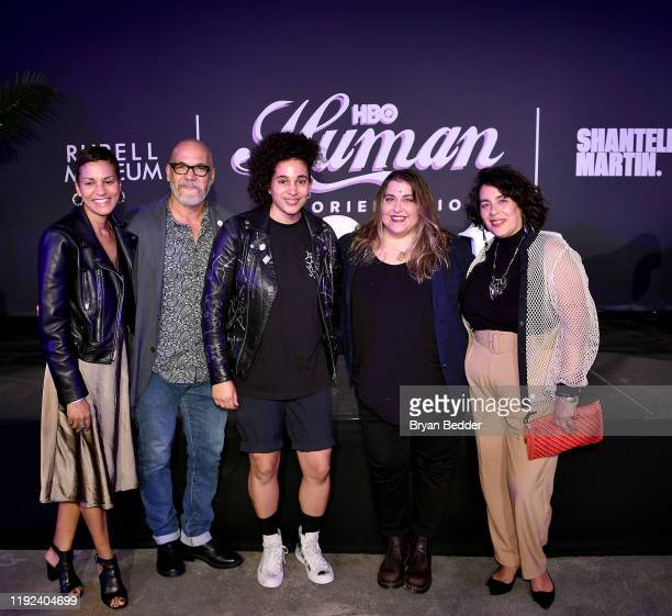 Jackie Gagne Tony Hernandez Shantell Martin Sarah Graalman and Muriel Parra attend HBO's Human By Orientation panel at Art Basel Miami at Rubell...