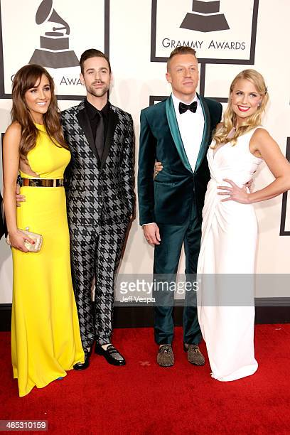Jackie Ganger Ryan Lewis Ben Macklemore Haggerty and Tricia Davis attend the 56th GRAMMY Awards at Staples Center on January 26 2014 in Los Angeles...