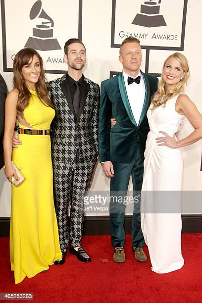 Jackie Ganger Ryan Lewis Ben Macklemore Haggerty Tricia Davis attend the 56th GRAMMY Awards at Staples Center on January 26 2014 in Los Angeles...